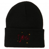 Noel with Stars Embroidered Long Beanie - Black
