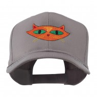 Halloween Cat with Green Eyes Embroidered Cap - Grey