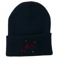 Noel with Stars Embroidered Long Beanie - Navy