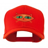 Halloween Cat with Green Eyes Embroidered Cap - Orange