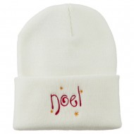Noel with Stars Embroidered Long Beanie - White