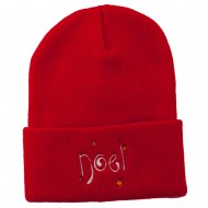 Noel with Stars Embroidered Long Beanie - Red