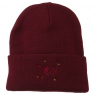 Noel with Stars Embroidered Long Beanie - Burgundy