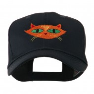 Halloween Cat with Green Eyes Embroidered Cap - Navy