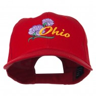 Ohio Carnation Flower Embroidered Cap - Red