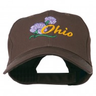 Ohio Carnation Flower Embroidered Cap - Brown
