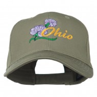 Ohio Carnation Flower Embroidered Cap - Olive