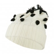 Cable Polka Dot Pom Cuff Beanie - White