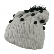 Cable Polka Dot Pom Cuff Beanie - Black