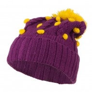 Cable Polka Dot Pom Cuff Beanie - Purple