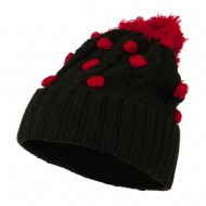 Cable Polka Dot Pom Cuff Beanie - Red