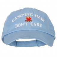 Camping Hair Don't Care with Fire Embroidered Low Profile Cotton Cap - Sky Blue