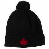 Canada Maple Leaf Embroidered Pom Beanie - Black