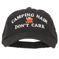 Camping Hair Don't Care with Fire Embroidered Low Profile Cotton Cap - Black