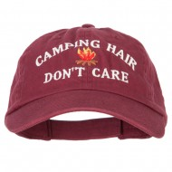 Camping Hair Don't Care with Fire Embroidered Low Profile Cotton Cap - Wine