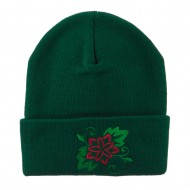 Christmas Poinsettia Flower Embroidered Long Beanie - Green