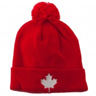 Canada Maple Leaf Embroidered Pom Beanie - Red
