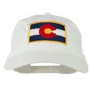 Colorado State Flag Embroidered Washed Buckle Cap - White