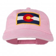 Colorado State Flag Embroidered Washed Buckle Cap - Pink