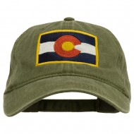 Colorado State Flag Embroidered Washed Buckle Cap - Olive