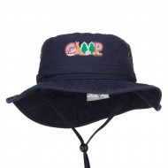 Camping Fun Patched Washed Hunting Hat - Navy