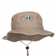 Camping Fun Patched Washed Hunting Hat - Khaki