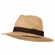 Women's Raffia Fedora Hat with Grosgrain Band - Natural
