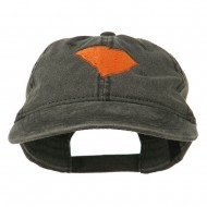 South Carolina State Map Embroidered Washed Cap - Black