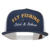 Catch Release Fly Fishing Embroidered Mesh Cap - Navy White