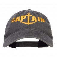 Captain Anchor Embroidered Washed Cap - Black