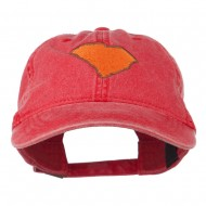 South Carolina State Map Embroidered Washed Cap - Red