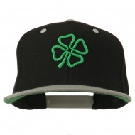 3D Clover Embroidered Two Tone Snapback Cap - Black Silver