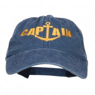 Captain Anchor Embroidered Washed Cap - Navy