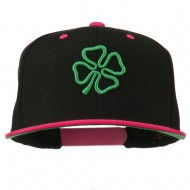 3D Clover Embroidered Two Tone Snapback Cap - Black Pink