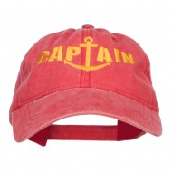 Captain Anchor Embroidered Washed Cap - Red
