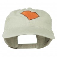 South Carolina State Map Embroidered Washed Cap - Stone Grey