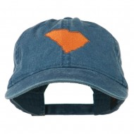 South Carolina State Map Embroidered Washed Cap - Navy