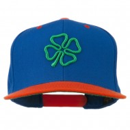 3D Clover Embroidered Two Tone Snapback Cap - Royal Orange