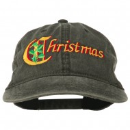 Christmas Holly Leaves Embroidered Washed Cap - Black