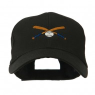 Small Crossed Bats and Ball Embroidered Cap - Black