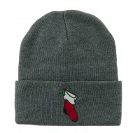 Christmas Stocking with Mistletoe Embroidered Long Beanie - Grey
