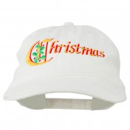 Christmas Holly Leaves Embroidered Washed Cap - White