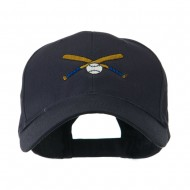 Small Crossed Bats and Ball Embroidered Cap - Navy