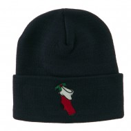Christmas Stocking with Mistletoe Embroidered Long Beanie - Navy