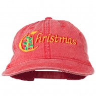 Christmas Holly Leaves Embroidered Washed Cap - Red