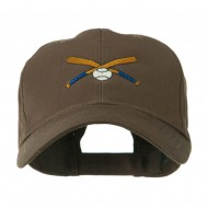 Small Crossed Bats and Ball Embroidered Cap - Brown
