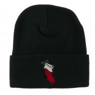 Christmas Stocking with Mistletoe Embroidered Long Beanie - Black