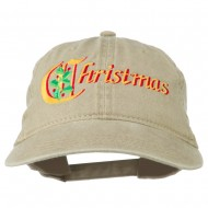 Christmas Holly Leaves Embroidered Washed Cap - Khaki