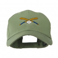 Small Crossed Bats and Ball Embroidered Cap - Olive