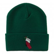 Christmas Stocking with Mistletoe Embroidered Long Beanie - Green